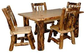rustic dining table and chairs. Rustic Table And Chairs Aspen Log Kitchen Set With 4 Dining A