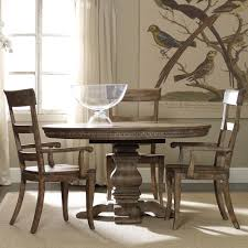 sorella wood round pedestal dining table in reclaimed hickory