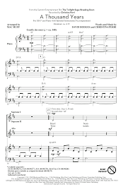 a thousand years piano sheet music a thousand years arr mac huff choral ssa sheet music by by
