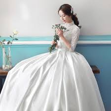 ball gown simple long sleeve wedding dresses with lace 2017 scoop
