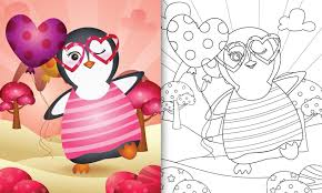 libro da colorare per bambini con un simpatico pinguino che tiene un  palloncino per San Valentino - Scarica Immagini Vettoriali Gratis, Grafica  Vettoriale, e Disegno Modelli