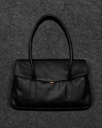 black tudor italian leather shoulder bag