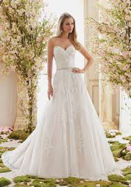 Tulle On Beaded Lace Appliques Wedding Dress Style 6834 Morilee