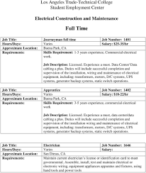 Electrician Job Duties Los Angeles Trade Technical College Student Employment