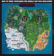 Map Of Drop Locations For All World Cup