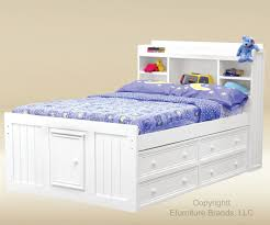 White Twin Storage Bed With Bookcase Headboard Queen Platform Cypres
