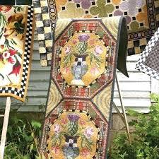 mackenzie childs rug white flower market courtly check bath mat new kitchen rugs