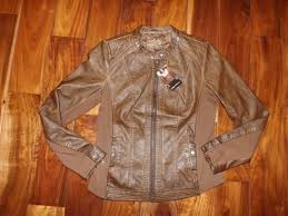 nwt womens sebby collection saddle brown faux leather jacket coat size m medium