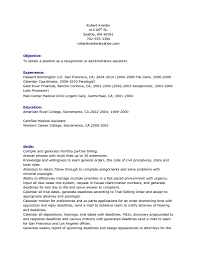Receptionist Resume With No Experience Top Medical Objective For