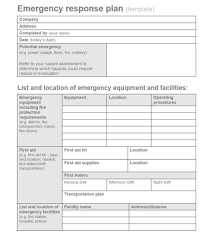 Emergency List Ohs Publication Emergency Response Planning Templates For