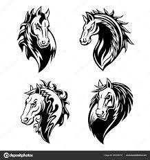 лошадь или Mustang животного значки тату и талисман векторное