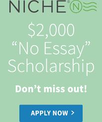 niche no essay scholarship fastweb