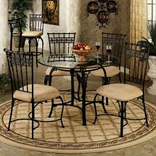 Small Wrought Iron Kitchen Table With Rounded Glass Top Combined