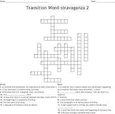 Transition Word Stravaganza 2 Crossword Wordmint