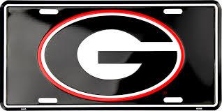 Georgia Bulldogs Logo on Black License Plate | UGA Black License ...