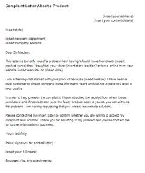 complaint letter about a product example just letter templates letter of complaint for a product