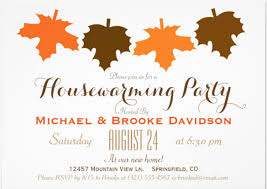 Orange Brown Fall Leaves Housewarming Party X Paper Invitation Card