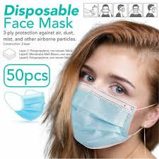 <b>50 PCS</b> FACE Mask <b>Non Medical</b> Surgical Dental <b>Disposable</b> 3Ply ...
