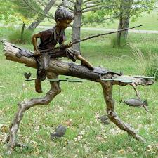 children metal sculpture life size bronze casting fishing boy garden statue images