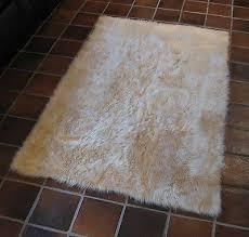 light beige flokati faux fur rug soft plush 3