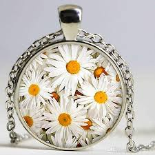 whole daisies pendant flowers necklace flowers jewelry birthday gift gift glass cabochon pendant coin pendant necklace anchor pendant