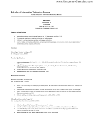 sample of entry level information technology resume sample technology resume