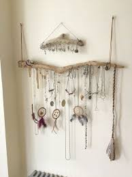 Driftwood Jewelry Organizer Wall Hanging Necklace Holder Bracelet How To Hang  Necklaces