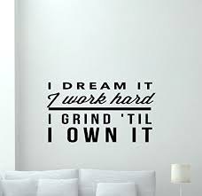 fitness wall decal gym i dream it i work hard motivational fitness vinyl sticker inspirational wall on motivational quotes for athletes wall art with best wall art decor quote out of top 19 top decor tips