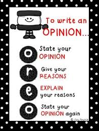 Anchor Chart For Opinion Writing Oreo