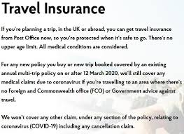 uk post office covid health insurance