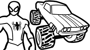 Small Picture Spiderman and Monster Truck Coloring Pages For Kids Coloring Book