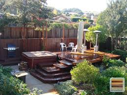 Exterior:Interesting Wooden Deck Designs For Small Backyard Combine  Backyard Garden Plus Outdoor Seating Over