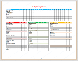 Weekly Checklist Weekly Cleaning Checklist For Word List Templates