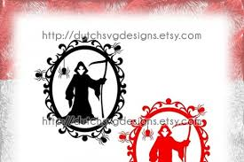 Large png 2400px small png 300px. Free Svg Halloween Frame Cutting File With Decorated Border With Spiders And The Reaper In Jpg Png Svg Eps Dxf For Cricut Silhouette Swirly Curly Free Svg Cut Files For
