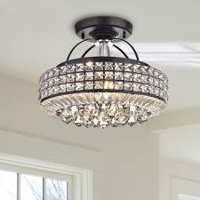 jolie antique black drum shade crystal semi flush mount chandelier antique black drum shade