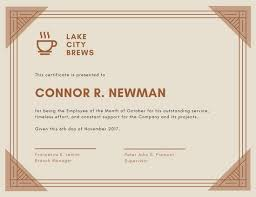 Corporate Certificate Template Awesome Light Brown Coffee Shop Employee Of The Month Certificate