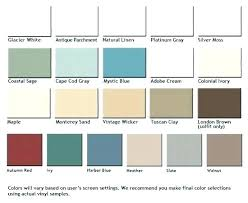 Mastic Siding Color Chart Vinyl Siding Color Chart Metal Roofing And Vinyl Siding