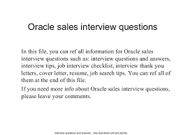 Resume Questions Simple Oracle Sales Interview Questions