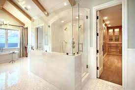 half wall shower pony glass walk in bathroom contemporary with gray walls high gloss vaulted ceiling half wall shower