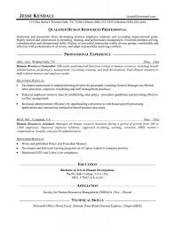 Resume For Human Resources Entry Level Hr Generalist Sample