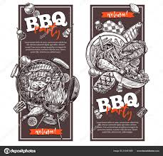 Barbecue Flyers Two Vertical Posters Flyers Barbecue Party Flyers Retro