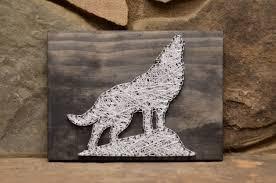 Wolf String Art Wildlife Art Wildlife Decor Rustic Wood