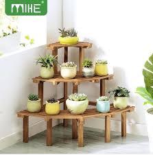 indoor pot plant stand nz 3 tier corner flower pine wood garden rack s