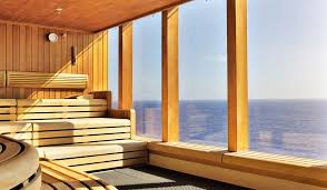 Home sauna interior with a view of the water
