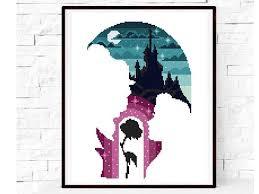 Disney Beauty And The Beast Modern Cross Stitch Pattern