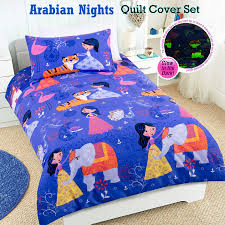 details about glow in the dark arabian nights quilt doona duvet cover set single double
