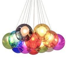 Kronleuchter Pendel Leuchter Hängeleuchte Pendelleuchte Farbige Bubble Ball Lampe Glas Esszimmerlampe Für Mehrflammige Leuchten Buntglas Esszimmer