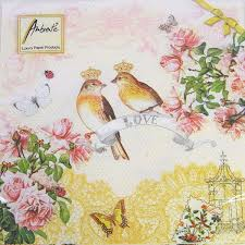 Spring Flower Paper Napkins The Paper Napkin Lovebird Ambiente Crown Small Bird Spring Spring Flower Flower Paper Napkin