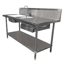 72 prep table sink unit w 2 sinks stainless steel drawer undershelf restaurant equipment solutions