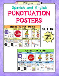 Spanish And English Punctuation Marks Posters Set Of 2 Tpt